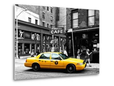 Urban Scene, Yellow Taxi, Prince Street, Lower Manhattan, NYC, Black and White Photography Colors-Philippe Hugonnard-Metal Print