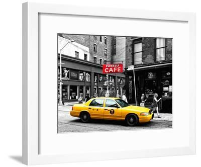 Urban Scene, Yellow Taxi, Prince Street, Lower Manhattan, NYC, Black and White Photography Colors-Philippe Hugonnard-Framed Photographic Print