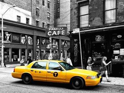 Urban Scene, Yellow Taxi, Prince Street, Lower Manhattan, NYC, Black and White Photography Colors-Philippe Hugonnard-Premium Photographic Print