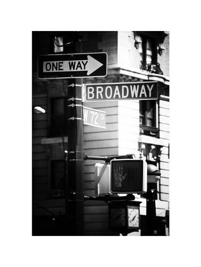 Urban Sign, Broadway, Manhattan, New York, White Frame, Old Black and White Photography-Philippe Hugonnard-Photographic Print