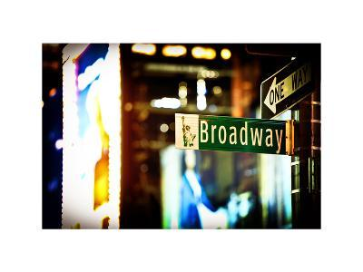 Urban Sign, Broadway Sign at Times Square by Night, Manhattan, New York, White Frame-Philippe Hugonnard-Photographic Print
