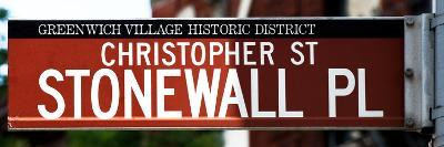 Urban Sign, Christopher Street and Stonewall Place, Greenwich Village, Manhattan, New York-Philippe Hugonnard-Photographic Print