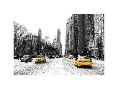 Urban Street Scene with a Yellow Taxi in Snow-Philippe Hugonnard-Photographic Print