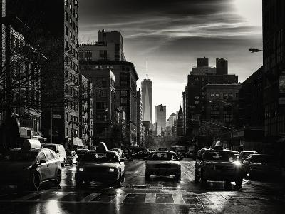 Urban Street Scene with NYC Yellow Taxis and the One World Trade Center of Manhattan in Winter-Philippe Hugonnard-Photographic Print