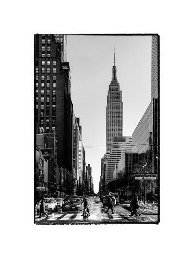 Urban Street Scene with the Empire State Building in Winter-Philippe Hugonnard-Photographic Print