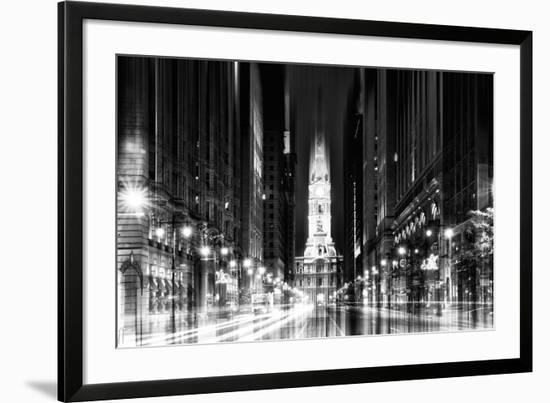 Urban Stretch Series - City Hall and Avenue of the Arts by Night - Philadelphia-Philippe Hugonnard-Framed Photographic Print