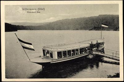 Urfttalsperre Eifel, Motorboot Elsa, F?hre, Steg--Giclee Print