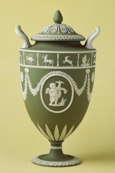 Urn, Green Stoneware, Wedgwood Manufacture, Staffordshire, England--Giclee Print