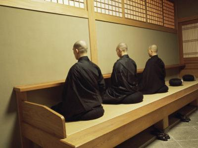 Monks During Za-Zen Meditation in the Zazen Hall, Elheiji Zen Monastery, Japan by Ursula Gahwiler