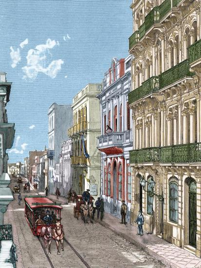 Uruguay, Montevideo, a City Street, Published in La Ilustración, 1887-A. Bertrand-Giclee Print