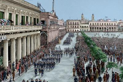 Uruguay, Montevideo, Army Parade in Honour of the President Julio Herrera Obes-Lajos Vajda-Giclee Print