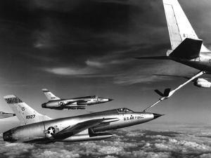 US Air Force F-105 Thunderchiefs Refuel before Vietnam Bombing Mission, 1966