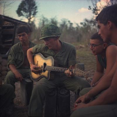 US Army Infantrymen Gather around a Guitar Player and Sing, Vietnam, Jan. 1968--Photo