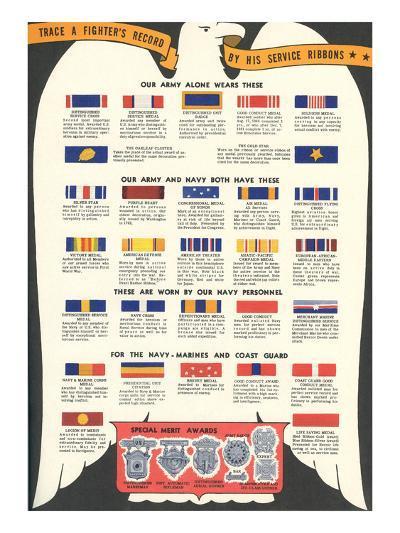 US Army, Navy, Marines and Coast Guard Service Ribbons--Art Print