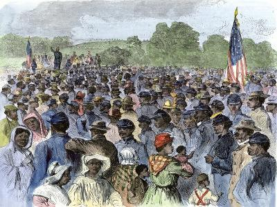 Us Army Officer Meeting with African-Americans in Louisiana after the Emancipation Proclamation--Giclee Print