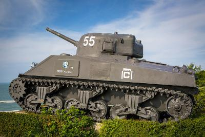 Us Army Sherman Tank on Display at Arromanches-Les-Bains, France-Brian Jannsen-Photographic Print