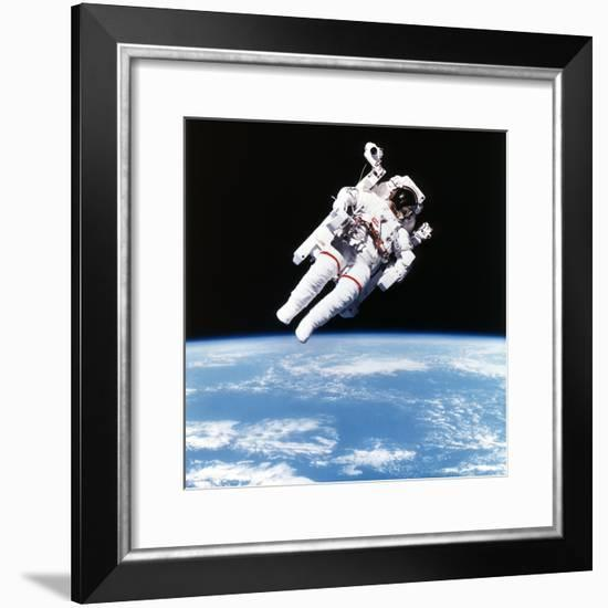 Us Astronaut Bruce Mccandless Spacewalking, 1984--Framed Photographic Print