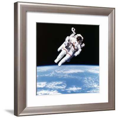 Us Astronaut Bruce Mccandless Spacewalking, 1984--Framed Photographic Print