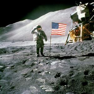 US Astronaut James B. Irwin Saluting American Flag Next to Lunar Module During Apollo 15 Mission