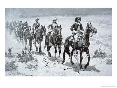US Buffalo Soldiers Marching in the Desert, from a Drawing of 1888-Frederic Sackrider Remington-Giclee Print
