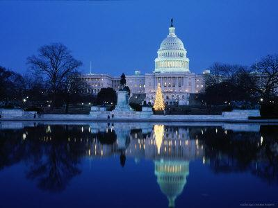 US Capitol and Christmas Tree-Walter Bibikow-Photographic Print