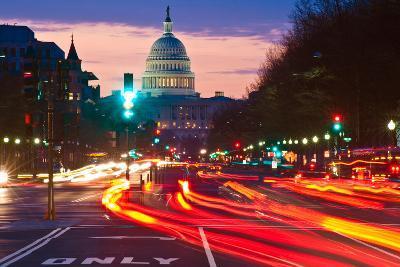US Capitol Building at dusk, Pennsylvania Avenue, Washington DC, USA--Photographic Print