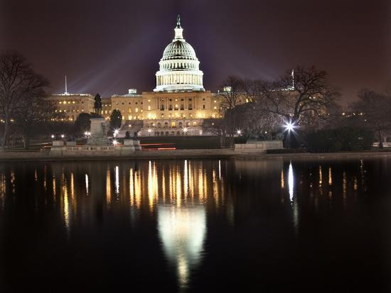 Us Capitol Night Reflection Washington Dc-BILLPERRY-Photographic Print