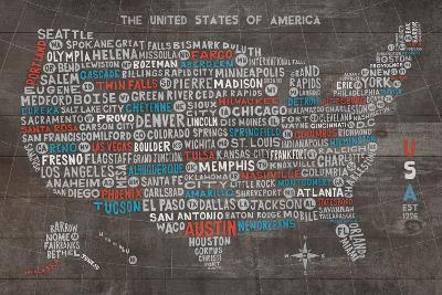 US City Map on Wood Gray-Michael Mullan-Art Print