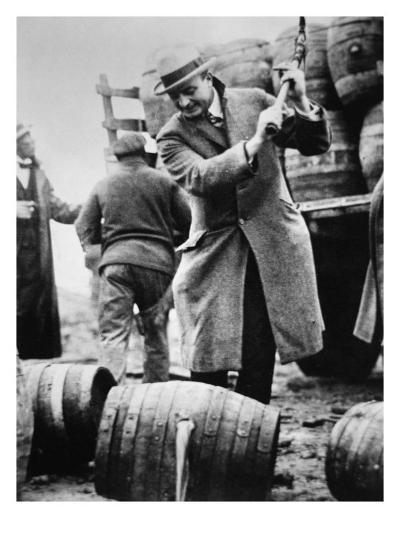 US Federal Agent Broaching a Beer Barrel from an Illegal Cargo During the American Prohibition Era--Giclee Print