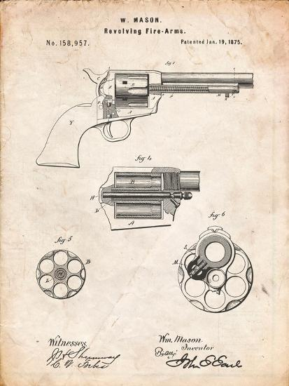 US Firearms Single Action Army Revolver Patent-Cole Borders-Art Print