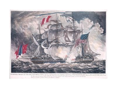 Us Frigate 'Constellation' Captures the 'L'Insurgente' in the West Indies at the Battle of Basseter--Giclee Print