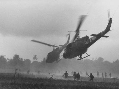 US Helicopters Carrying South Vietnamese Troops in Raid on Viet Cong Positions-Larry Burrows-Photographic Print
