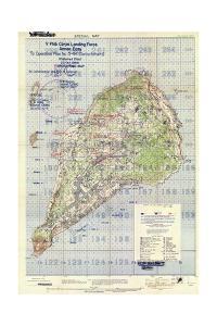 US Landing and Targeting Map of Iwo Jima