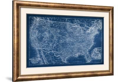 US Map Blueprint-Vision Studio-Framed Photographic Print