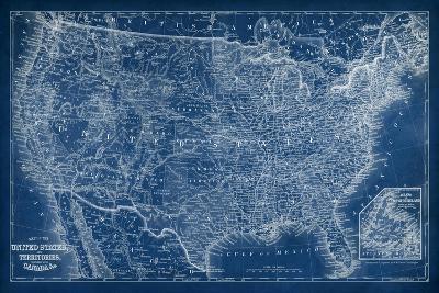 US Map Blueprint-Vision Studio-Art Print