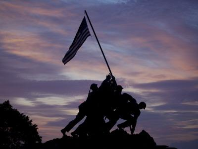 US Marine Corps Memorial is Silhouetted Against the Early Morning Sky in Arlington, Virginia--Photographic Print