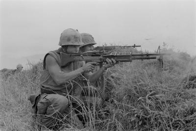 US Marine Machine Gunner and Rifleman Fire at the Enemy, Near DMZ, Vietnam, 1967--Photo