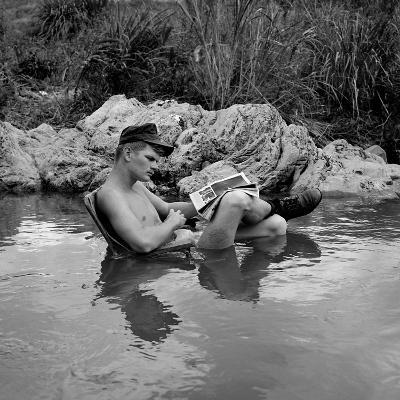 US Marine Rifleman Relaxes in a Cool Mountain Stream, Vietnam, 1968--Photo