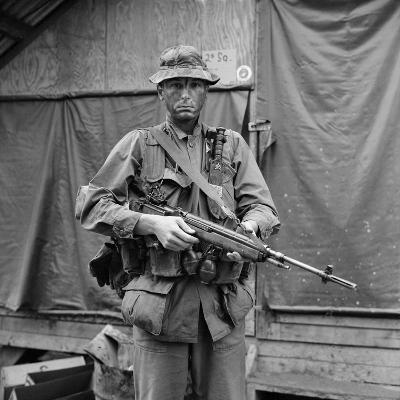 US Marine Sergeant Prepared to Go into a Field, Vietnam, April 1967--Photo