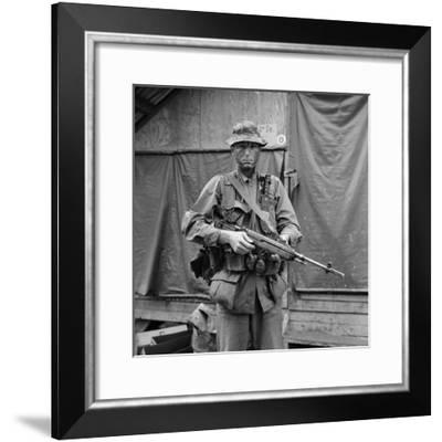 US Marine Sergeant Prepared to Go into a Field, Vietnam, April 1967--Framed Photo