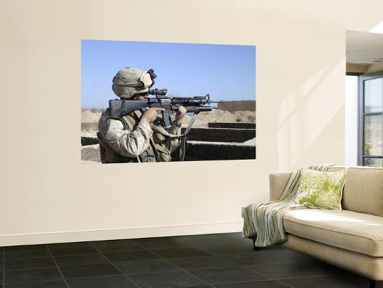 US Marine Sites Through the Scope Atop His 556mm M16A2 Rifle--Wall Mural