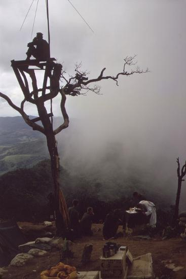 US Marine Stands Watch in an Observation Tower over Mass, July 1967--Photo