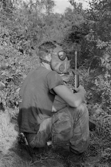 US Marine Wearing Gas Mask to Enter a Viet Cong Tunnel in 1968--Photo