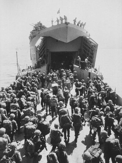 US Marines Loading onto Ship as They Withdraw from Lebanon--Photographic Print