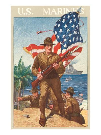 US Marines, On the Beach--Art Print