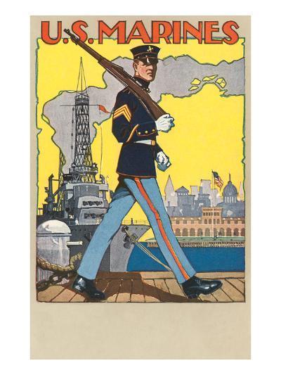 US Marines, Patrolling Dock--Art Print