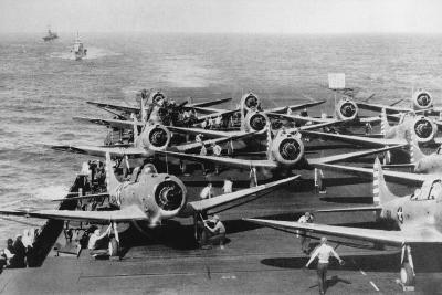 Us Navy Aircraft Carrier before the Attack Agaist Japan--Photographic Print