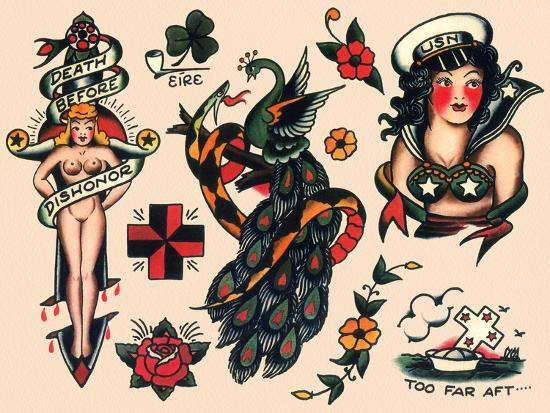 Us Navy And Sailor Tattoos Authentic Vintage Tatooo Flash By Norman Collins Aka Sailor Jerry Art Print By Piddix Artcom