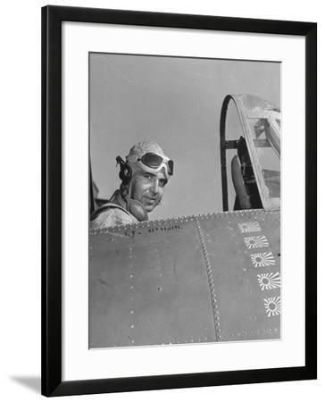US Navy Flying Ace Lt. Edward H. O'Hare Sitting in His Plane-Ralph Morse-Framed Photographic Print