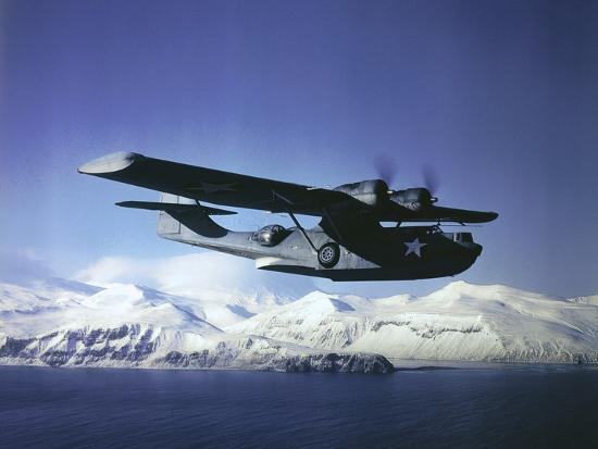 Us Navy Pby Catalina Bomber in Flight--Photographic Print